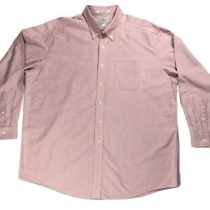 Mens LL Bean Pink Wrinkle Resistant XL Button Down